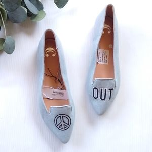 CHARMING CHARLIE peace out chambray flats